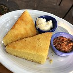 Cornbread with butter and bacon relish