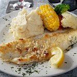 Fresh pickerel, garlic mashed potato, perfectly crisp veggies!