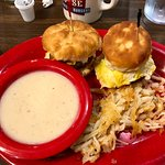Country Sliders! Biscuits, sausage, eggs with hash browns & gravy.