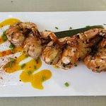 Marinated black tiger shrimps with mango sauce