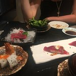 Edamame, spicy tuna nigiri, tuna sashimi, fried shrimp roll, miso soup