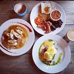 A trio of our tasty Breakfasts at LS6! Nutana Pancakes, Yorkshire Breakfast and Eggs Benedict