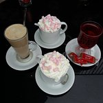 hot chocolate, latte and hot Ribena (for lactose-intolerant child)