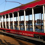 Manx Electric Railway open carriage, mind the step up!