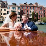 Karina & Declan on the Grand Canal in their water taxi from the wedding ceremony to the receptio