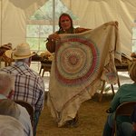 Plains Indian expert Bad Hand explains the significance of a painted hide during Rendezvous Days