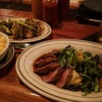Leopold Bros Whiskey Barrel Smoked Wild Boar Loin, Smoked Mac ,Roasted Sprouts and a Manhattan,