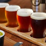 Tasting paddles are the popular way to go for tasting the range of brews available