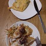 Chipirones y tortilla de bacalao