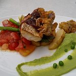 Chef's special - fish with tomato salsa and potato - melt in the mouth