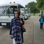 Sabiha ready to embark on the tram for return journey.