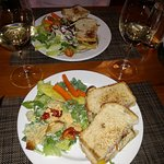 Chicken Sandwiches with Salad and Wine