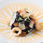 Squid Ink Pasta with Calamari & Crispy Guanciale