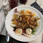 my bowl for health: DIY salad; with roasted chicken, kampung eggs, croutons and kambucha sauce