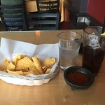 Diet soda, chips and salsa