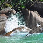 Splash between our granitic rock and the sea