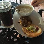 burger with soup