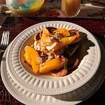 Lovely breakfast of French toasts and peaches