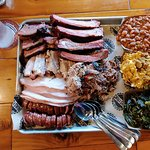 Brisket, Pork Belly, Smoked Turkey, Sausage, Ribs, Pulled Pork, Baked Beans, Mac & Cheese, Colla