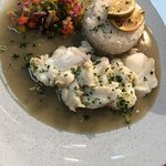 Thai monkfish curry with baked coconut rice and lime salsa.