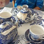 Lovely setting, blue willow pottery tea sets