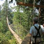 Traversing the suspension bridge