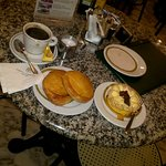 My coffee, ricotta pastizzi, and cake ...YUM