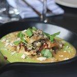 Roasted Mushrooms, Asparagus Puree, Serrano Pepper