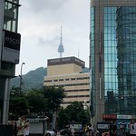The Pacific Hotel with Seoul Tower in the background.