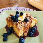 Baked French Toast with Blueberries and Maple Syrup