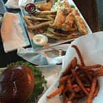 Burger and sweet potato fries, fish platter