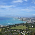 Looking from the top toward Waikiki and Honolulu.   If I squinted I could see our hotel window ;