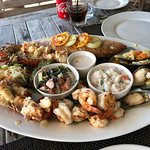 Seafood platter for two: whole lobster, octopus, mussels, snapper, shrimp, kokondo