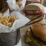 burger and a salmon blt burger, just ordinary