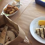 Starter, halloumi, and battered squid