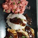 Plat : salade russe, poulet sauce veau à la broche