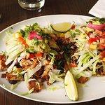 California style taco w pork and roasted tomato sauce