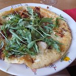 Savoury cheese, onion and sun dried tomato pancake