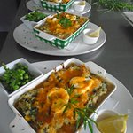 Plough Special Fish Pie with Cheesy Spinach Mash.