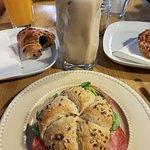 salami sandwich and chai latte