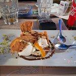 crema di ricotta e pistacchio con cialda di cannolo fantastica