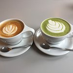 A Latte and Matcha both full of flavour and beautifully textured.