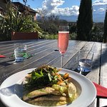 Gurnard with risotto and salad and a kir royale