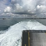 The view from the back of the catamaran