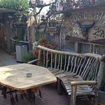 Log cabin beer garden