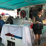 We had an enjoyable cruise, sampling oysters paired with wine and sake.  As we floated past oyst