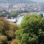 Deutsches Eck von oben betrachtet, Reiterstandbild, Blick auf Rhein und Mosel, Seilbahn über den