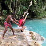 Rope swing at lower Blue Hole