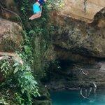 Jumping spot upstream of the falls