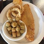 Haddock, fried okra, onion rings and cheese biscuit.